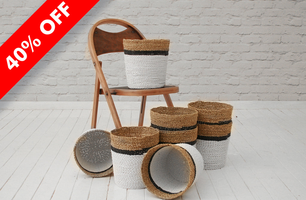 Handmade banana fibre & recycled plastic waste paper basket / Natural, black & white