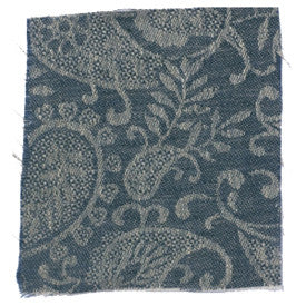 Large Paisley Linen - Prussian Blue/Natural