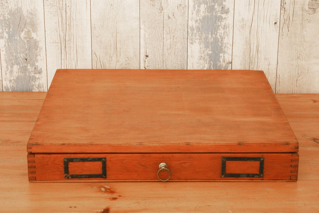A vintage office storage / filing box