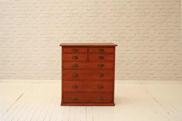 A Victorian office mahogany chest of drawers