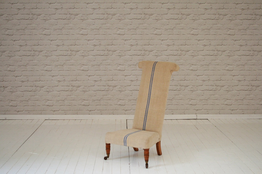 A Victorian Pre Du - or Prayer Chair - in Hungarian sack cloth / Bedroom chair