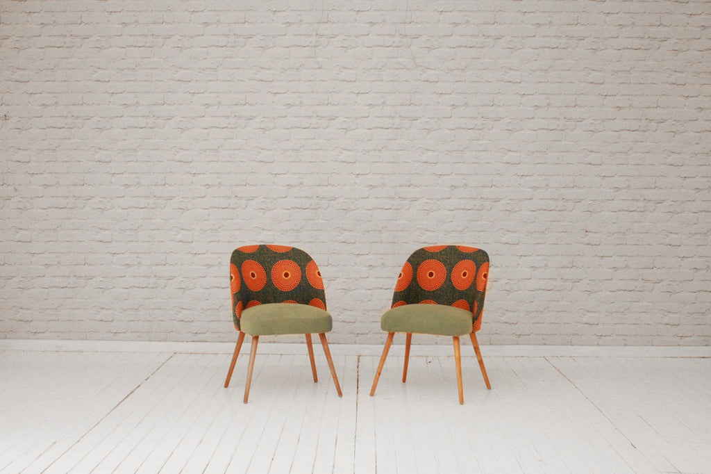 A pair of German 1950s retro dining chairs