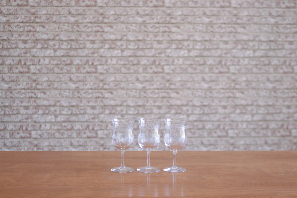 Set of three vintage Etched Wine Glasses