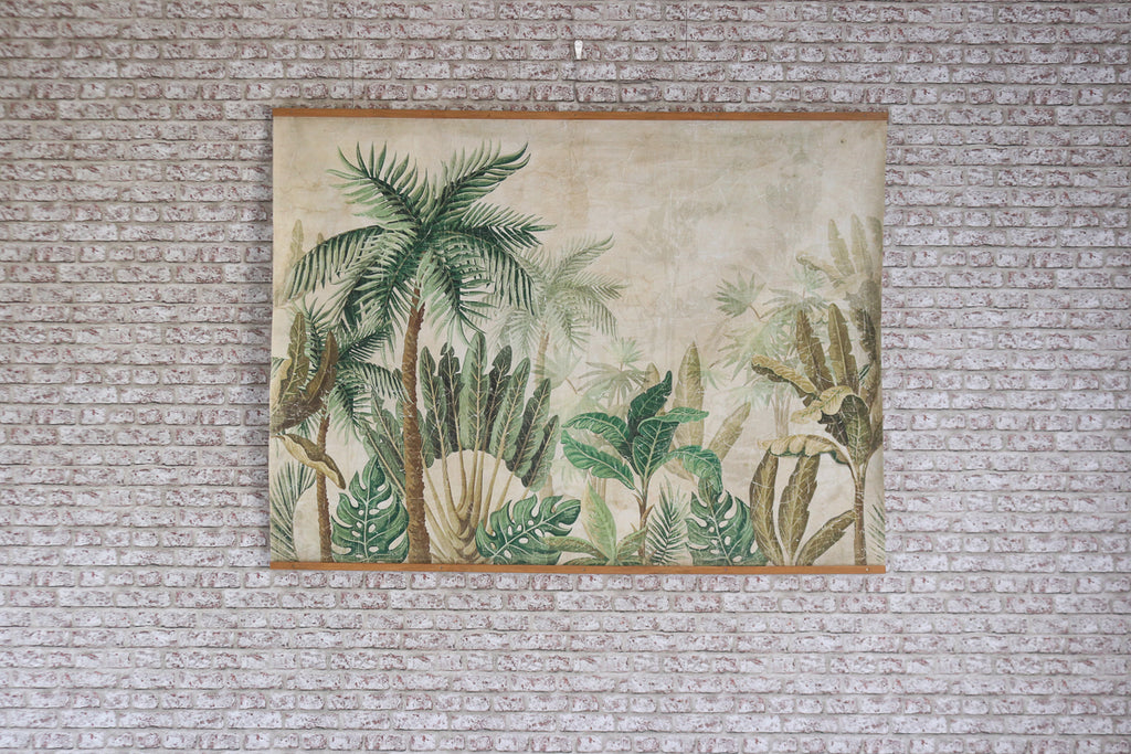 Antiqued parchment paper wall art - FORET TROPICALE