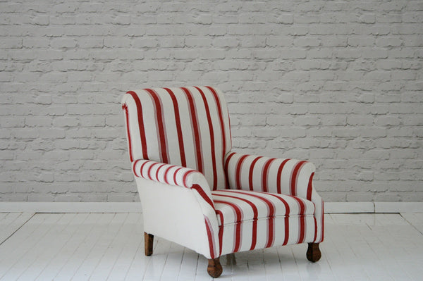 An Edwardian armchair in striped Turkish cotton