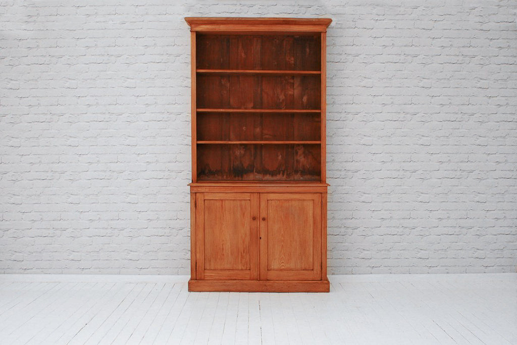 A Victorian bookcase with a two door cupboard base