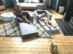 Girls enjoying the mini flip sofa