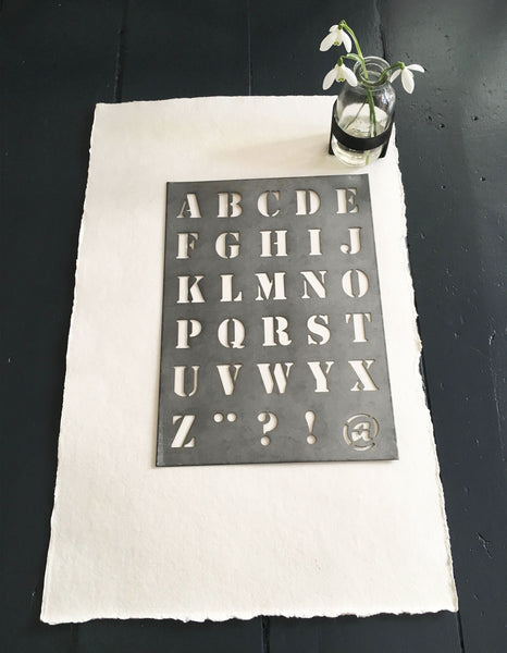 Typography, made simple with this Zinc alphabet stenci