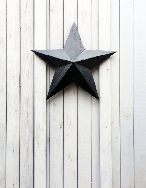 Hand made rustic wooden barn star from &MEAD inky blue black