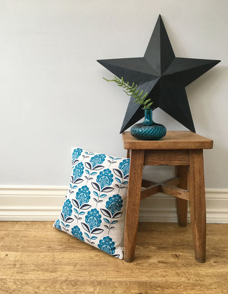 Persian Blue Peacock Flower Print Cushion and mead