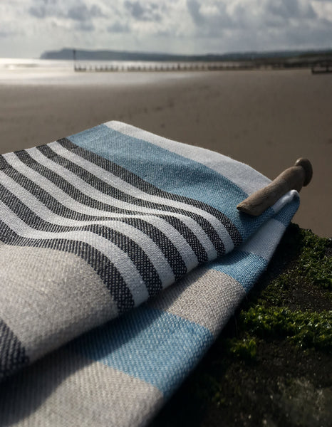 Pure Linen Tea Towel- Blue, Black and Oatmeal Stripe