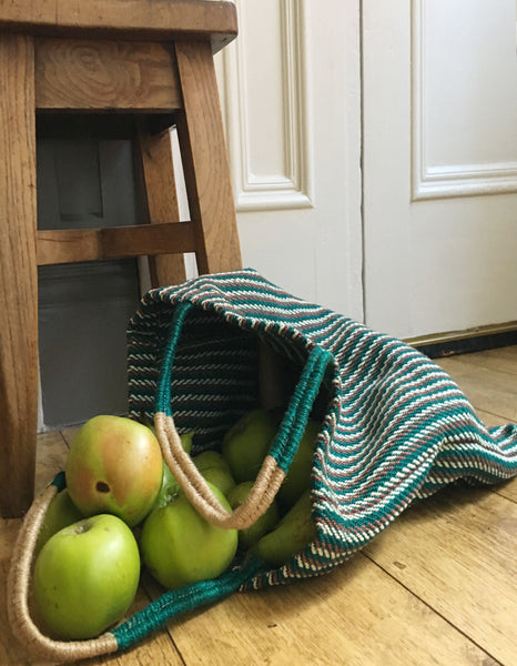 Teal Green Stripey Jute Tote Bag