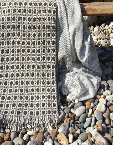 Corona Wool Blanket - Beige -Brown/ Grey