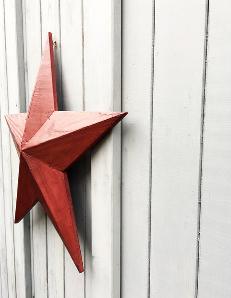 hand made painted wooden  rustic barn star in garnet red by & MEAD