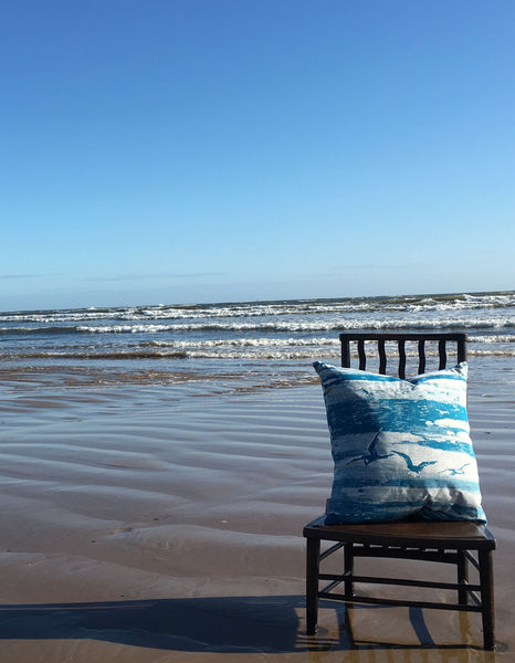 Sit and sink into this large and comfy, hand printed cushion and bring  a touch of coastal charm and elegance to your home.