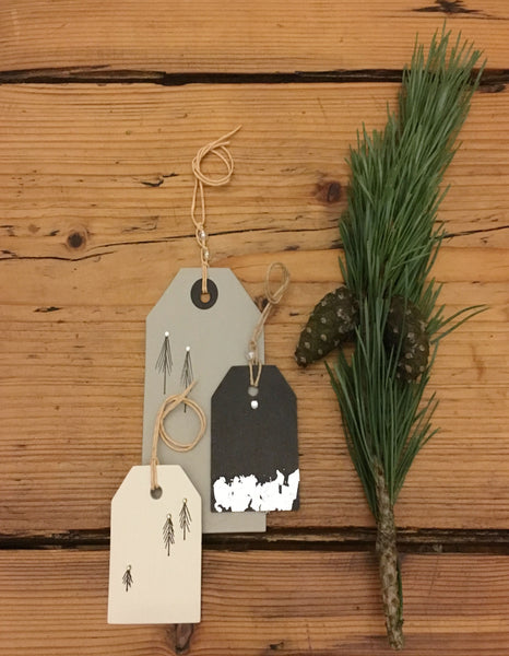 &MEAD hand drawn Fir Tree gift tags trio