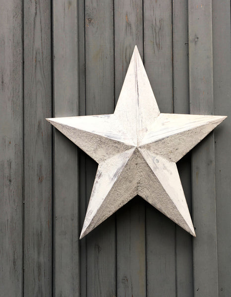 hand made wooden barn star in weathered white