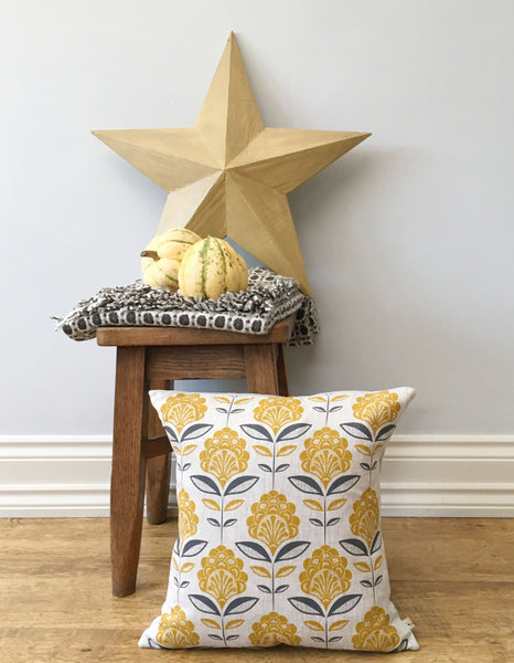 Saffron Peacock Flower Print Cushion and mead