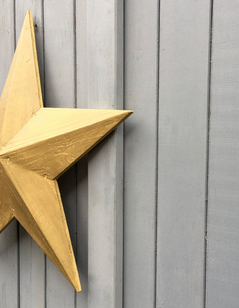 hand made painted wooden rustic barn star in Yellow