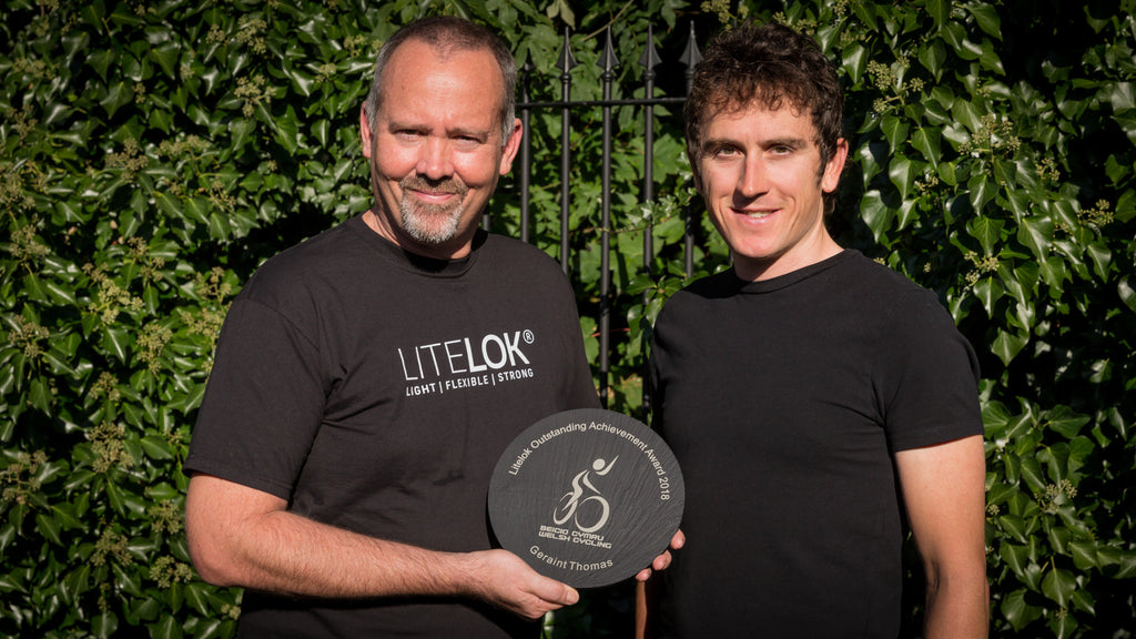 We meet Geraint Thomas, Tour de France winner 2018, to present him with the Litelok Outstanding Achievement Award at the Welsh Cycling Awards