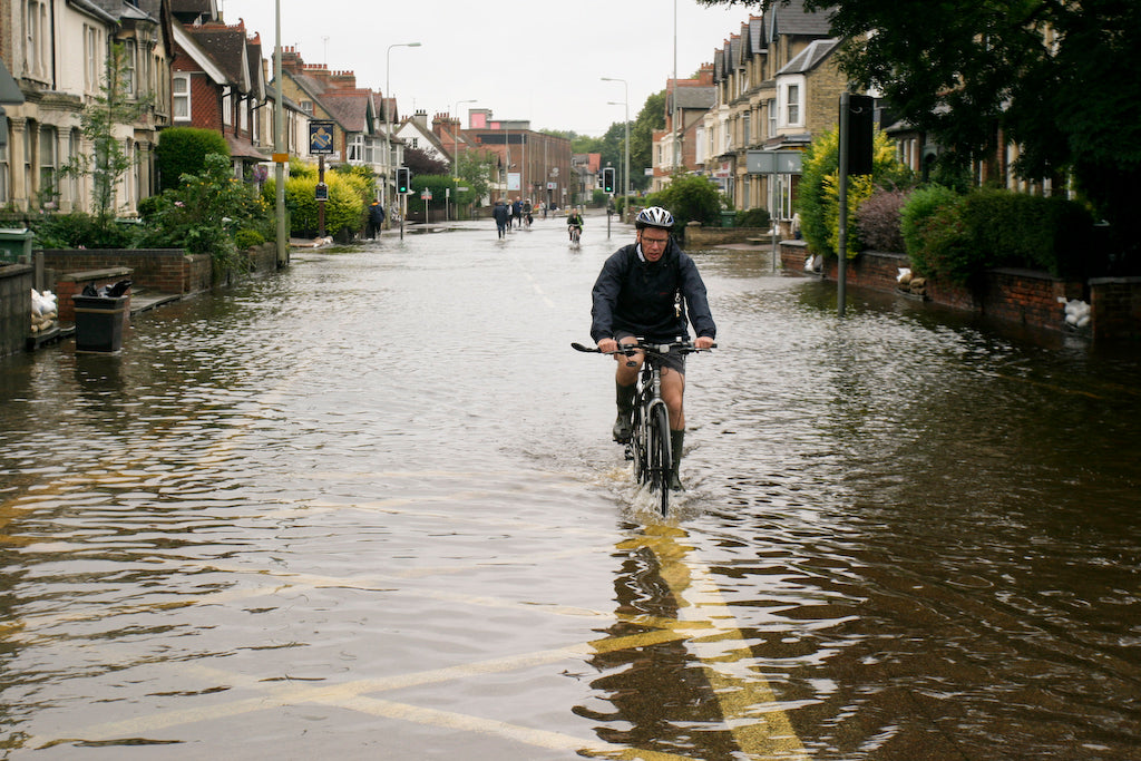 Cycling through water. Wet feet