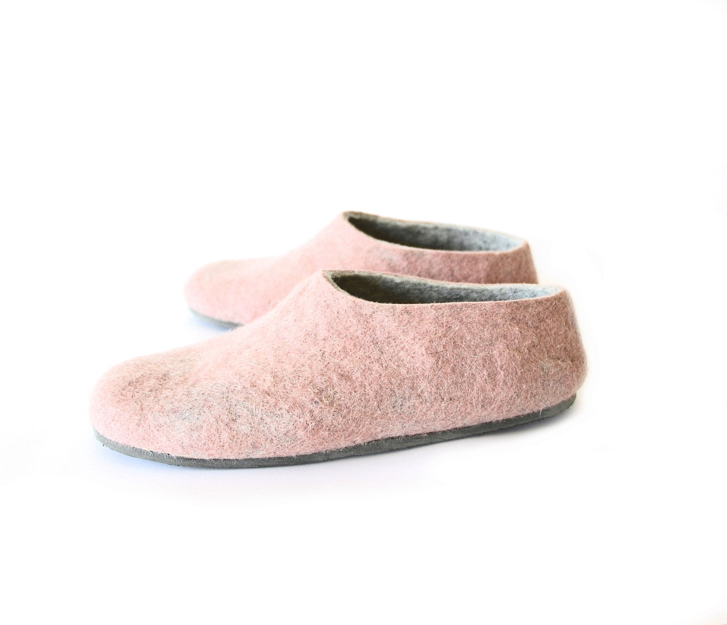 Dusty Rose Wool Slippers