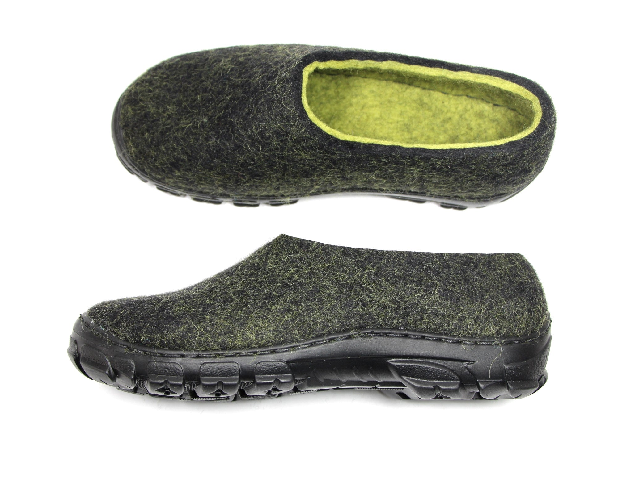 Men Felt Shoes Black Lime