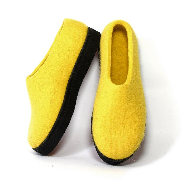 Women's Wool Felt Moccasins Citrus Yellow