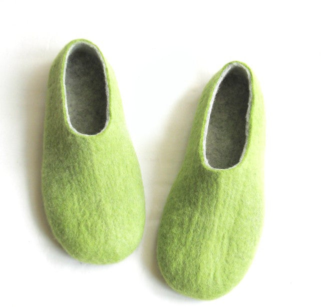 Mens Wool Felted Slippers Green Grey Color...