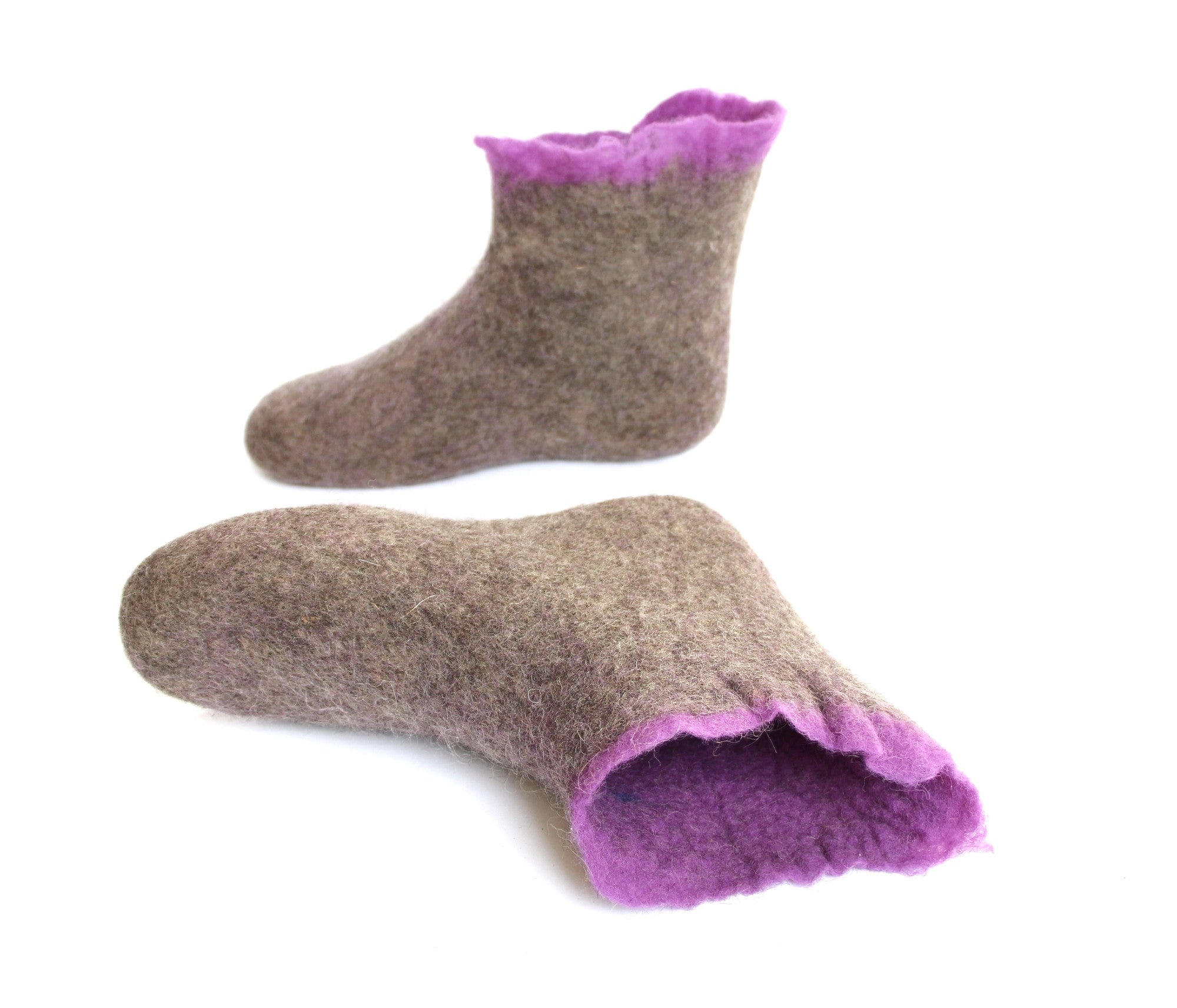 Women's Ankle Wool Booties Organic Brown Purple