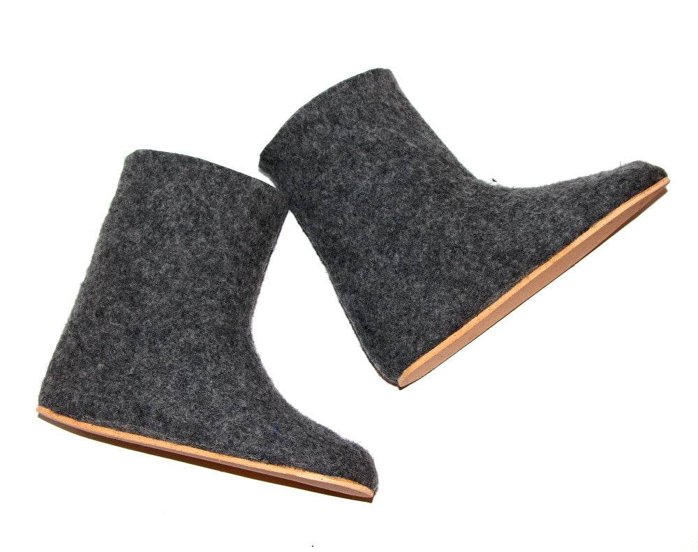 Womens Wool Boots Grey Contrast Sole