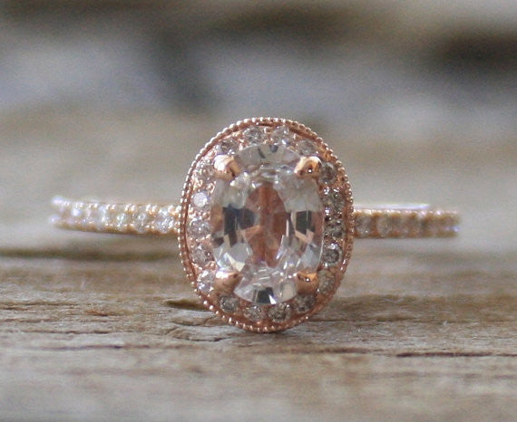 Oval White Sapphire Diamond Halo Engagement Ring in 14K Rose Gold