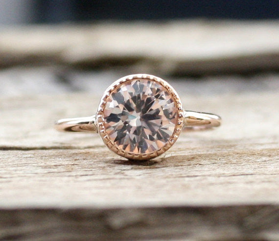 2.50 Cts. White Sapphire Milgrain Ring in 14K Rose Gold