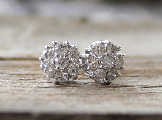 Diamond Flower Cluster Stud Earrings in 14K White Gold