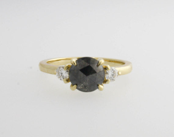 3 Stone Rose Cut Black Diamond Ring in 14K Yellow Gold