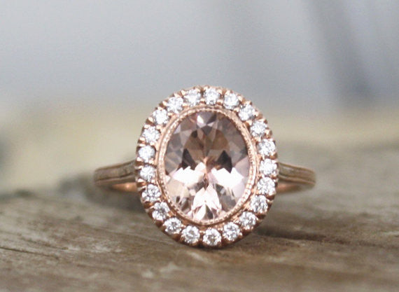 Oval Morganite Diamond Hand Milgrain Bezel Halo Ring in 14K Rose Gold