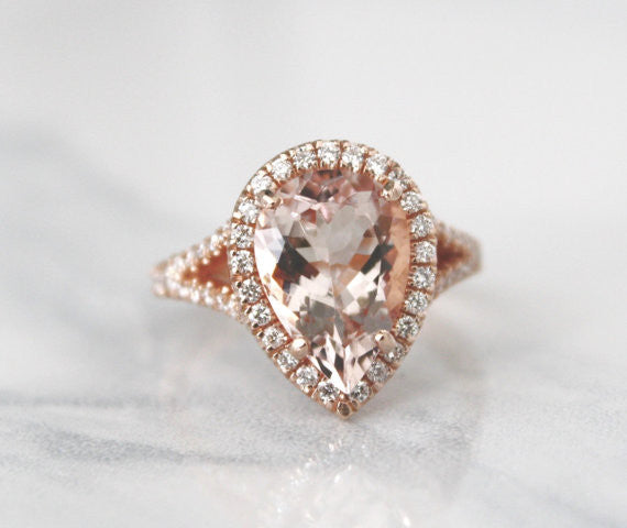 Pear Cut Morganite Split Shank Diamond Engagement Ring in 14K Rose Gold