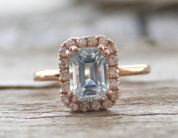 Emerald Cut Aquamarine Diamond Engagement Halo Ring in 14K Rose Gold - March Birthstone