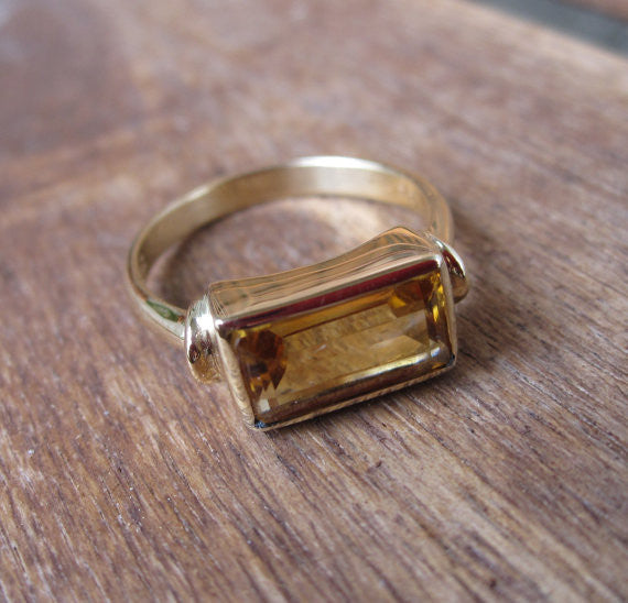 Rectangular Citrine Stack Ring in 14K Yellow Gold