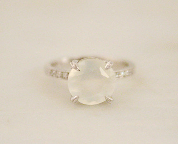 Rose Cut Moonstone Solitaire Ring in 14K White Gold