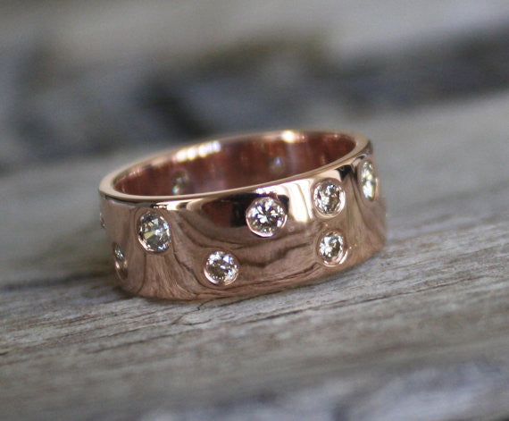 Champagne Diamond Band in 14K Rose Gold
