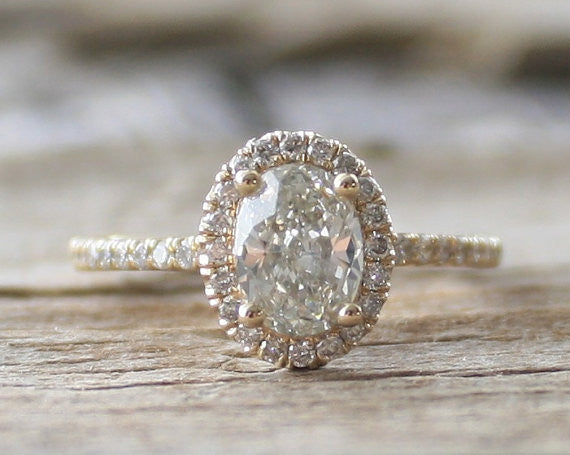 Oval Diamond Halo Engagement Ring in 14K Yellow Gold
