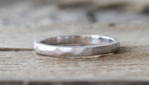 Handmade 14K White Gold Hammered Ring
