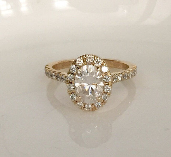 Oval Forever One Moissanite Diamond Engagement Ring in 18K Yellow Gold