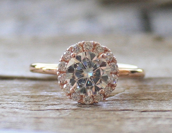 Moissanite Diamond Halo Engagement Ring in 14K Rose Gold