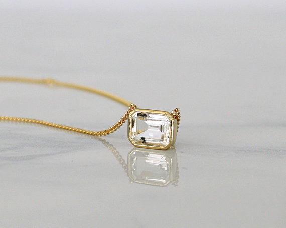 Emerald Cut White Topaz Bezel Necklace in 14K Yellow Gold