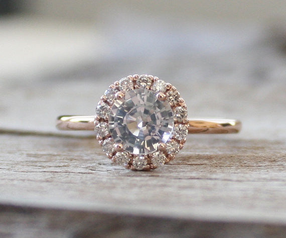 White Sapphire Diamond Engagement Ring in 14K Rose Gold Halo Setting