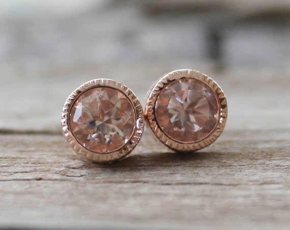1.60 Cts. Peachy Pink Morganite Stud Earrings in 14K Rose Gold