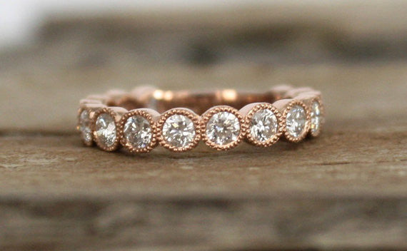 Hand Milgrained Bezel Bubble 3/4 Eternity Diamond Ring in 14K Rose Gold