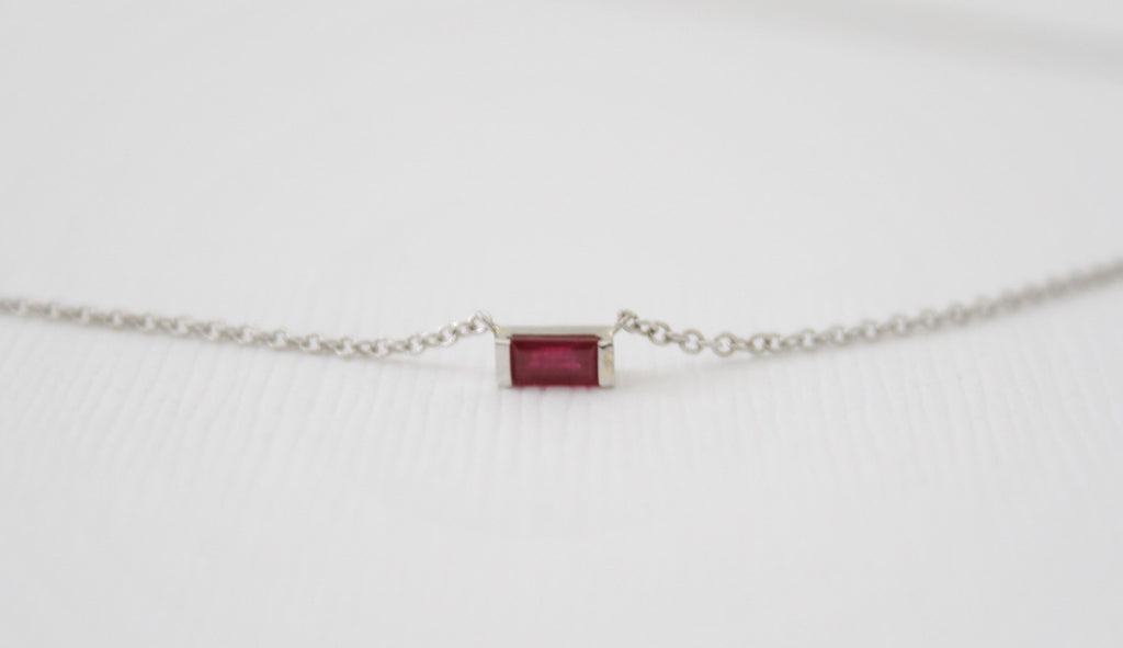 Baguette Cut Ruby Bar Necklace in 14K White Gold